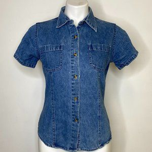 Vintage Fitted Denim Button Down Top